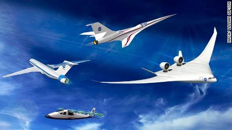 A montage of NASA concept planes