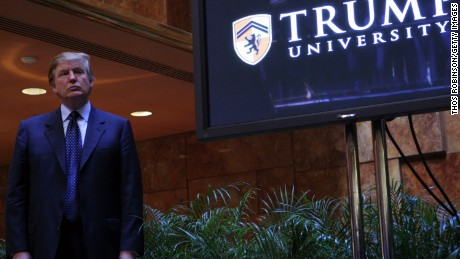 Donald Trump holds a media conference announcing the establishment of Trump University May 23, 2005 in New York City.