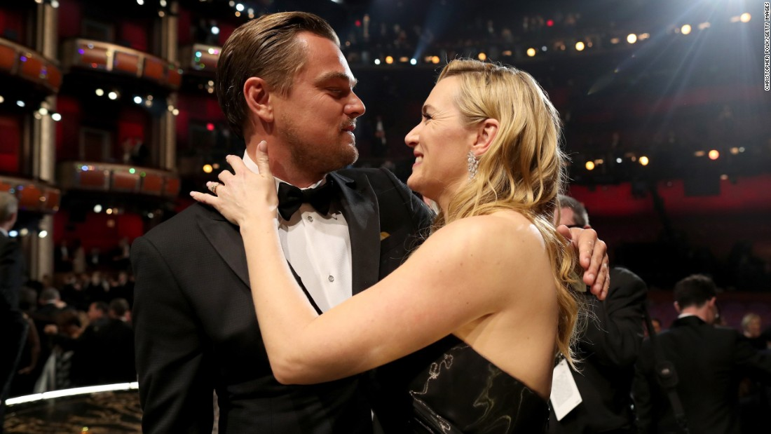 "Leonardo DiCaprio hugs his friend, former ""Titanic"" co-star Kate Winslet, at the Academy Awards on Sunday, February 28. DiCaprio won the best-actor Oscar for his role in ""The Revenant."" <a href=""http://www.cnn.com/2016/02/29/entertainment/gallery/oscars-winners-2016/index.html"" target=""_blank"">See all the winners </a>"