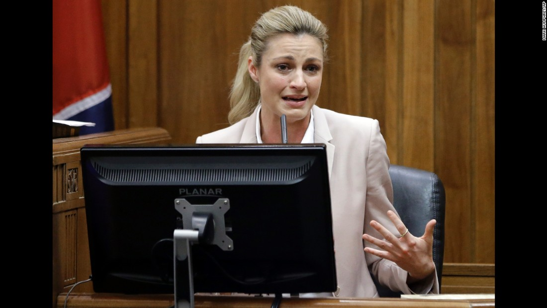 "Sportscaster Erin Andrews cries in court as she testifies in Nashville, Tennessee, on Tuesday, March 1. Andrews is suing the hotel where a stalker secretly recorded her nude in 2008. <a href=""http://money.cnn.com/2016/03/01/media/erin-andrews-video-trial/"" target=""_blank"">During her testimony,</a> she described to the court how the video has wreaked havoc on her life for the past seven years."
