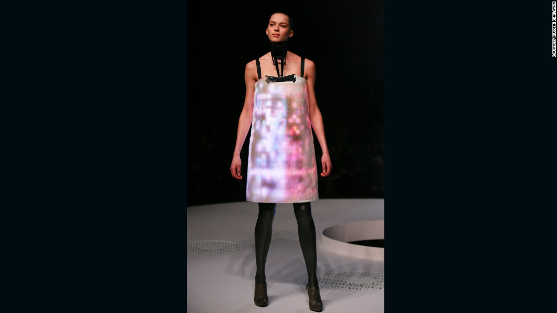 """Tiled """"Airborne"""", the Autumn-Winter 2007 collection featured video dresses -- each with 15,000 LEDs embedded into the fabric. These """"screens"""" depicted cityscapes as seen from Google Earth. The collection was seen as a commentary on the environment."""