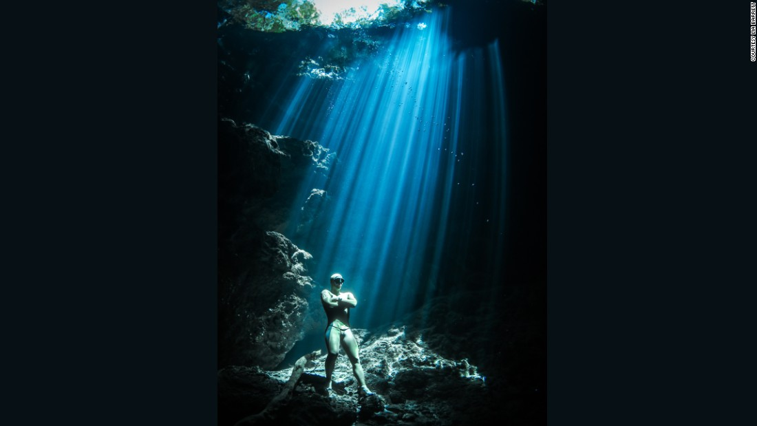 """We headed over to the Maya Riviera on the Yucatan Peninsula, which has a porous topography ripe for underwater sinkholes -- called cenotes,"" explained Barrett.<br />""Each cenote is different -- some are vertical sinkholes, others are caverns or caves.<br />""What makes the cenotes interesting is the mix of fresh and saltwater, which can create these haloclines, which, when the water has been undisturbed by other people, you can literally see."""