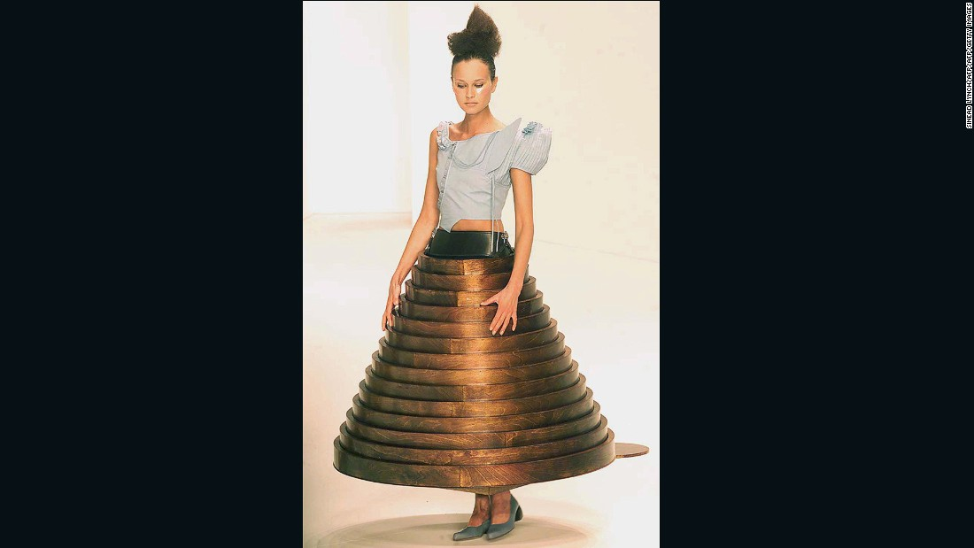 For Autumn-Winter 2000, furniture became clothing. Before it was a skirt, this piece was a coffee table.
