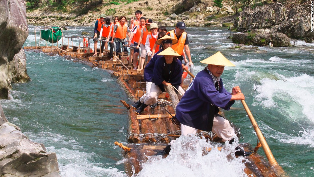 Japan's Kitayama village offers tourists a chance to sail down the swift currents of Kitayama River on traditional logging rafts. Here's the kicker -- you're not even seated.