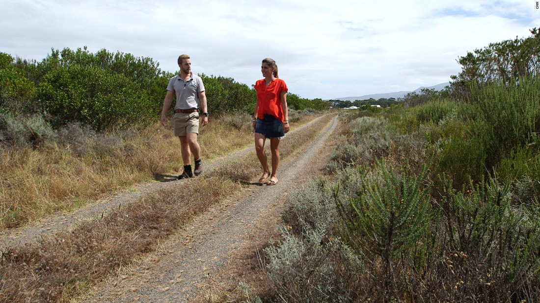 KRCA manager Rob Slater takes CNN WInning Post presenter Aly Vance on a guided tour of the conservation area.