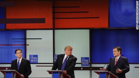 Sen. Marco Rubio, Donald Trump and Sen. Ted Cruz participate in a debate sponsored by Fox News at the Fox Theatre on March 3, 2016, in Detroit, Michigan.