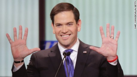Marco Rubio participates in a debate sponsored by Fox News on March 3, 2016 in Detroit, Michigan.