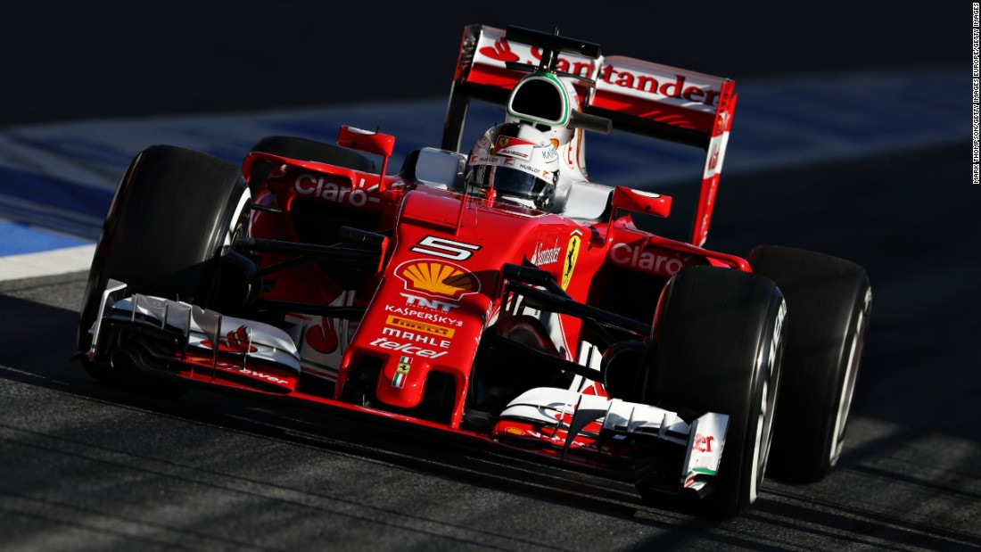 Sebastian Vettel of Ferrari drives during the final day of testing on March 4. He recorded the fastest lap time in the morning session -- coming in at 1:22.852.