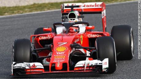 Ferrari's Kimi Raikkonen trialed the new safety halo at winter testing in Barcelona.