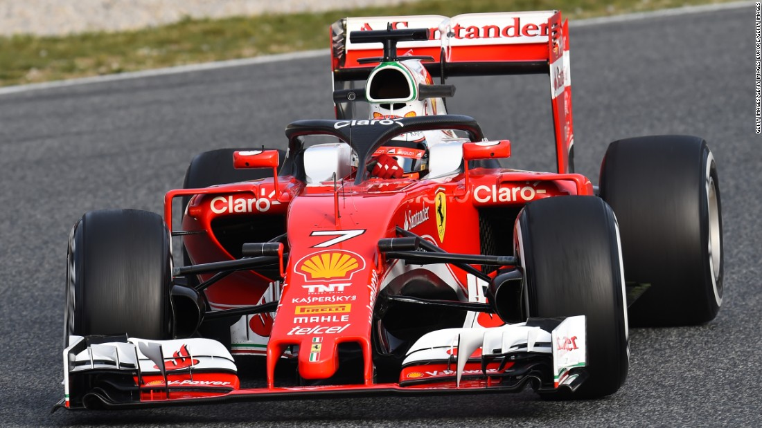 Finland's Kimi Raikkonen tests the new Ferrari halo on track. The halo is designed to protect the head of the driver.