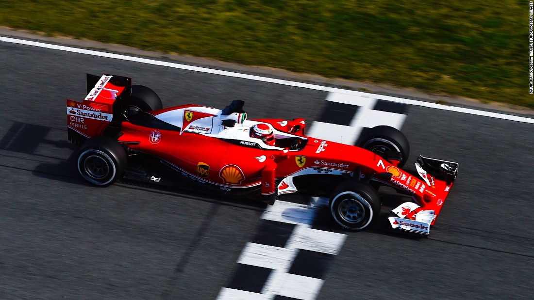 Under glorious blue skies at the Circuit de Barcelona-Catalunya in Spain, Ferrari's Kimi Raikkonen set the fastest time on day three of Formula One pre-season testing. After a total of 136 laps, his best time was one minute 22.765 seconds.