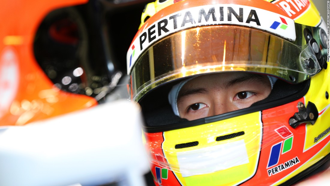 Indonesian Rio Haryanto of Manor Racing sits in his car in the garage during day four of testing.