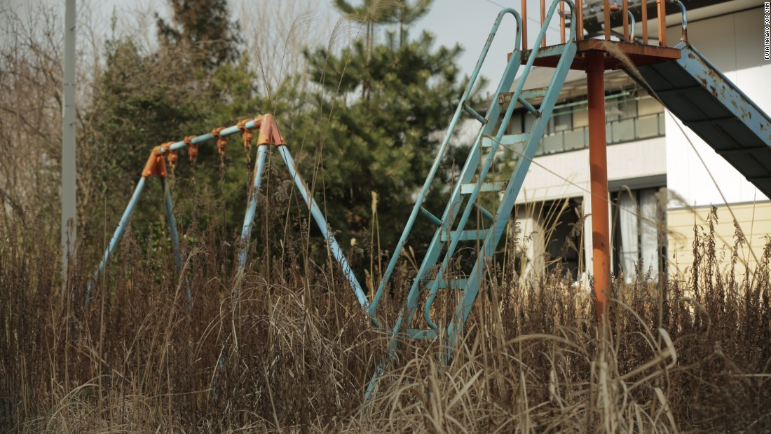 An abandoned playground inside the Fukushima exclusion zone.