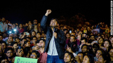 "Kanhaiya Kumar addresses students and activists at Jawaharlal Nehru University  in New Delhi on Friday. ""We will defeat those who are destroying the soul of our constitution,"" he said."