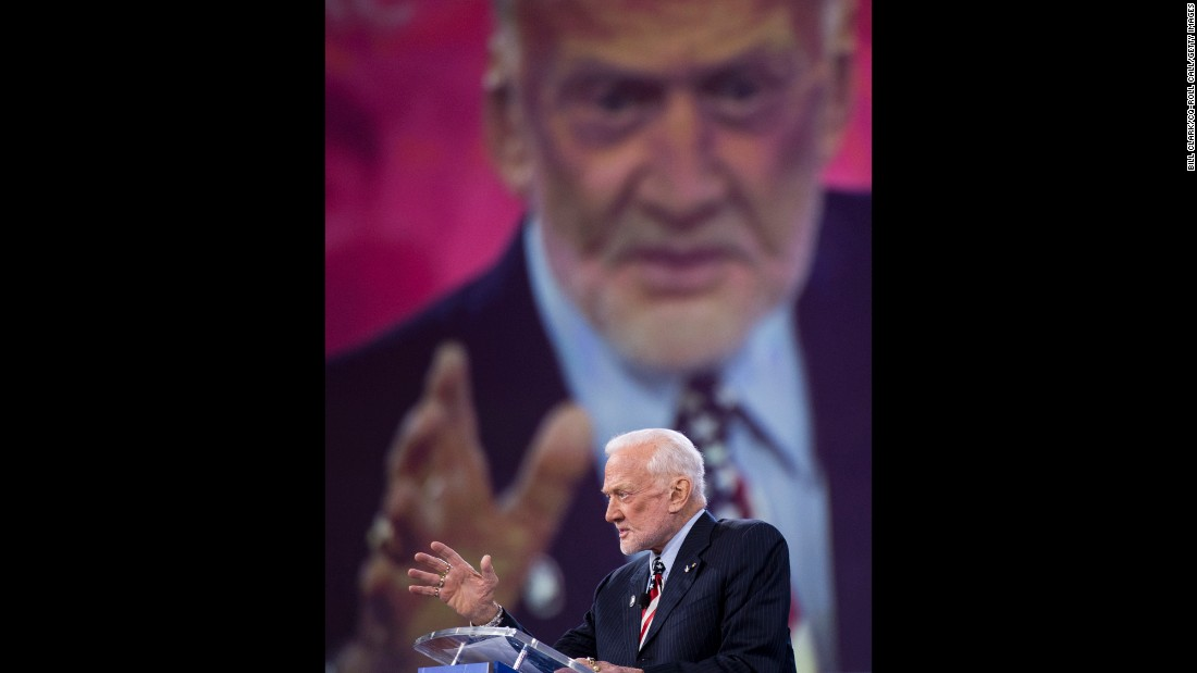 Former astronaut Buzz Aldrin speaks at the Conservative Political Action Conference on March 3. The annual event was held in Oxon Hill, Maryland.