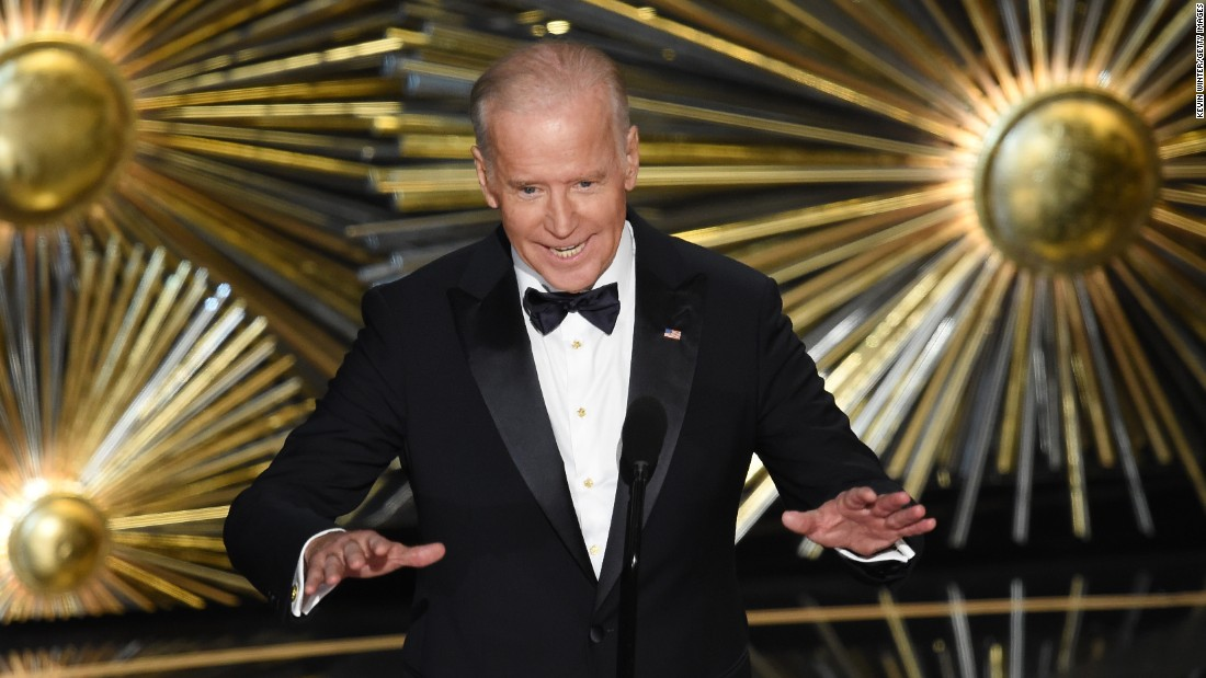 "Vice President Joe Biden speaks on stage during the Academy Awards on Sunday, February 28. Before introducing <a href=""http://www.cnn.com/2016/02/29/entertainment/lady-gaga-performance-oscars-feat/"" target=""_blank"">Lady Gaga's performance of ""Til It Happens to You,""</a> Biden encouraged Americans to take action against sexual assault on college campuses. ""Let's change the culture,"" Biden said. ""We must, and we can."""