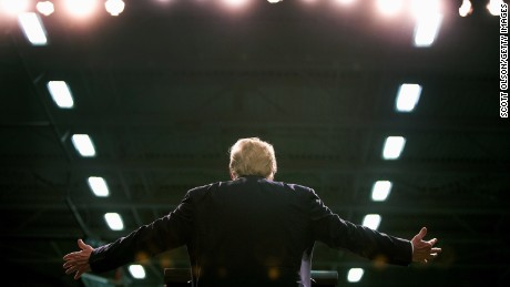 Republican presidential candidate Donald Trump speaks to guests during a rally at Macomb Community College on March 4, 2016 in Warren, Michigan.