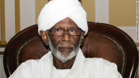 Sudanese Islamist leader Hassan al-Turabi, shown in a 2014 photo, died Saturday of an illness, state news reported.
