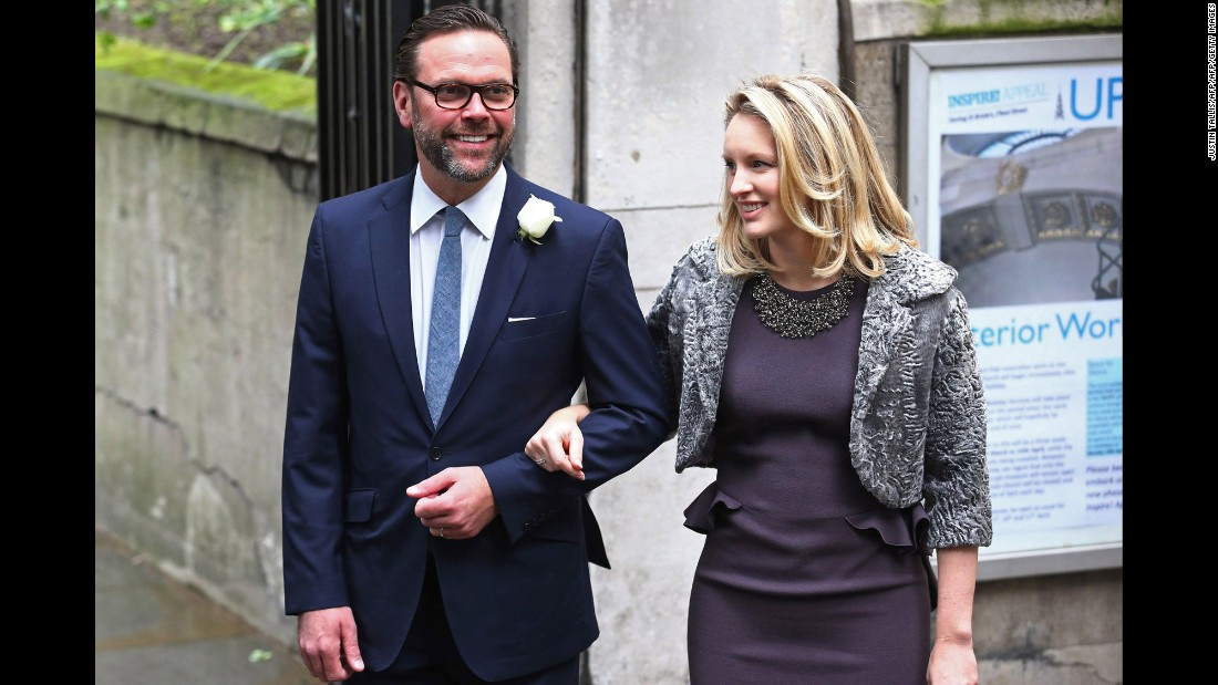 James Murdoch and his wife, Kathryn Hufschmid.