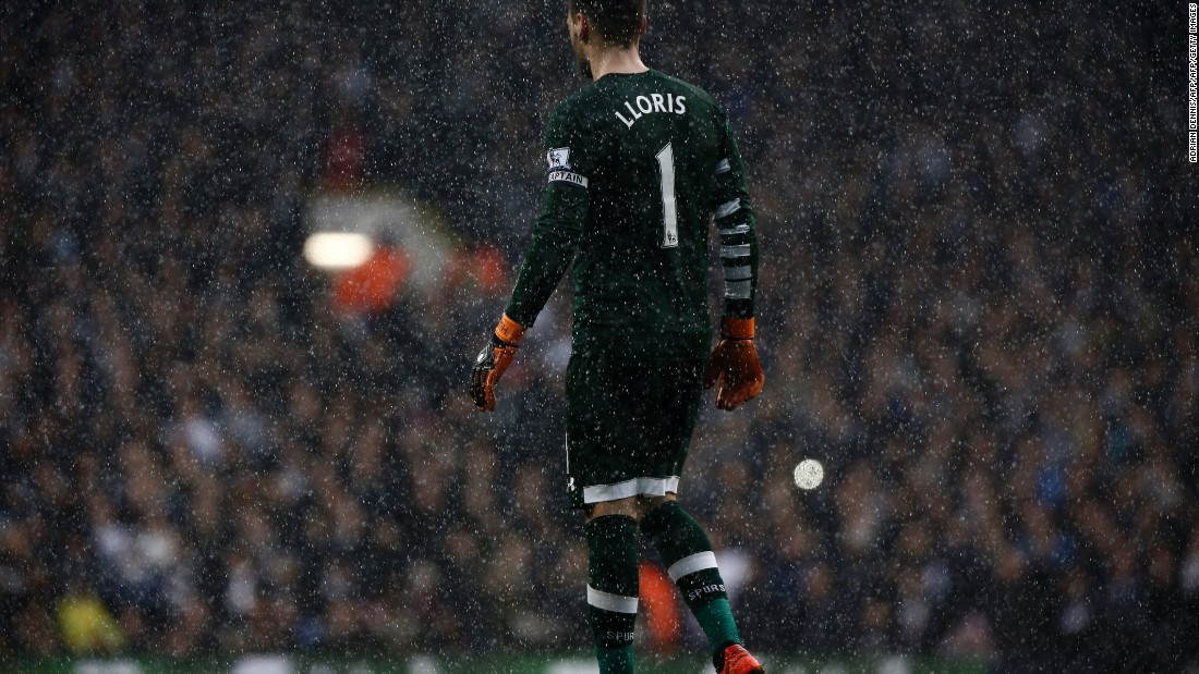Spurs goalkeeper, Hugo Lloris, watches the action unfolding in front of him.