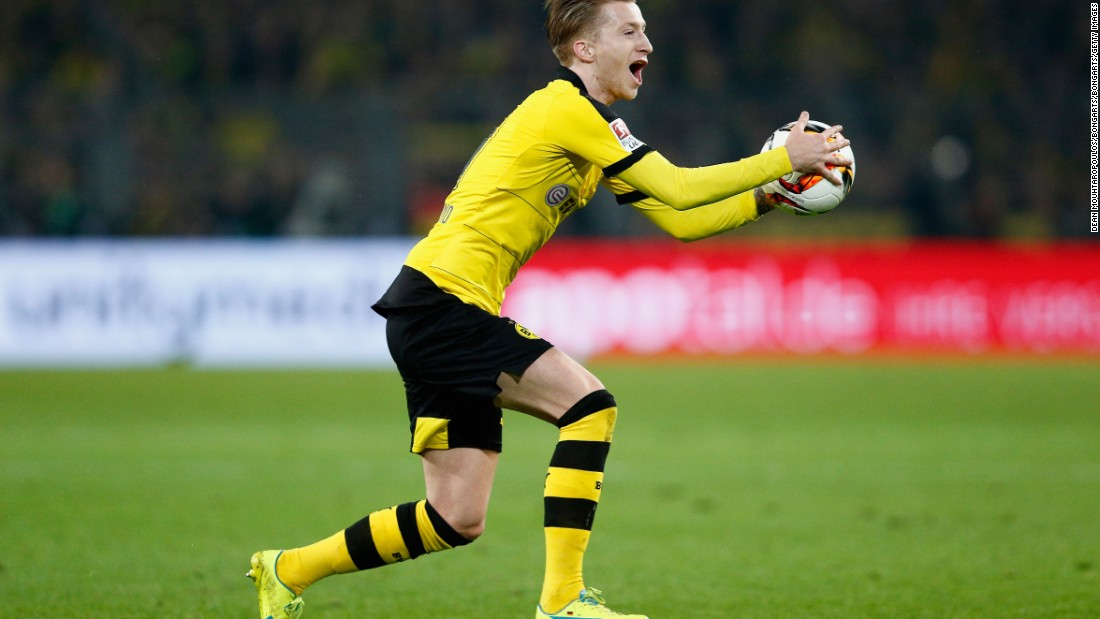 Dortmund looked dangerous on the counter attack all evening. Here striker Marco Reus shows his frustration at being caught offside.