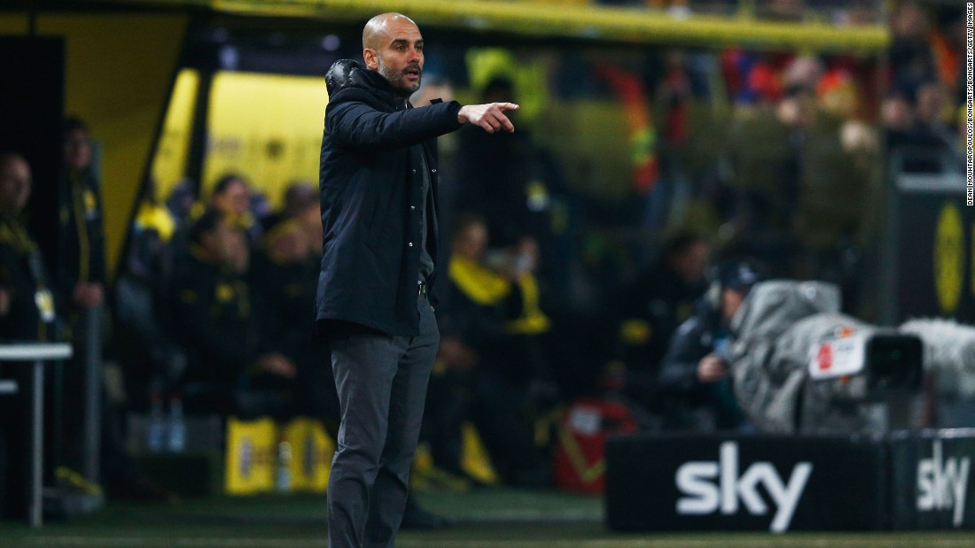 Josep Guardiola manager of Bayern Munich gestures during the Bundesliga match between Borussia Dortmund and FC Bayern Muenchen at Signal Iduna Park on March 5, 2016 in Dortmund, Germany.
