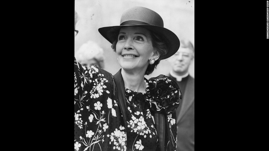 Nancy Reagan is photographed in London for the wedding of Prince Charles and Lady Diana Spencer in July 1981.