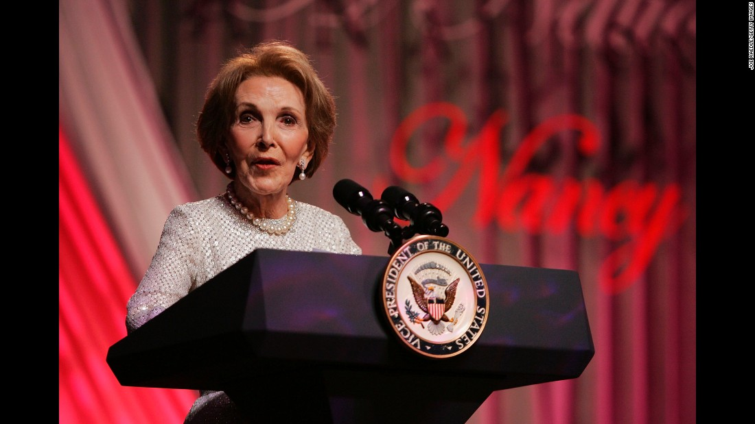 "Reagan speaks at the end of the ""A Nation Honors Nancy Reagan"" dinner on May 11, 2005, in Washington. The event was held to pay tribute to Reagan and celebrate her life and her accomplishments."
