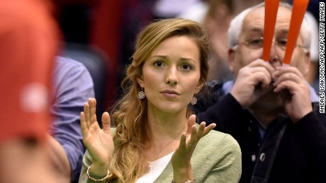 An anxious Jelena Djokovic was at courtside to see her husband secure a famous victory for Serbia.