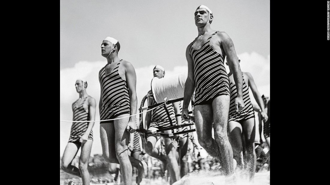 Lifeguards walk on Sydney's Bondi Beach around 1938. As an island nation with more than 22,000 miles of coastline, Australia needed an army of surf-savvy lifeguards to look after its citizens. The Surf Life Saving movement began in 1907 as an all-volunteer service.