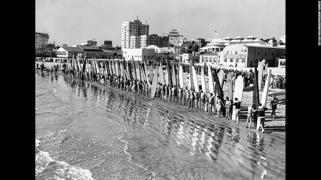 The first National Surfing Championship took place in Long Beach, California, in 1938. There were 144 entrees.