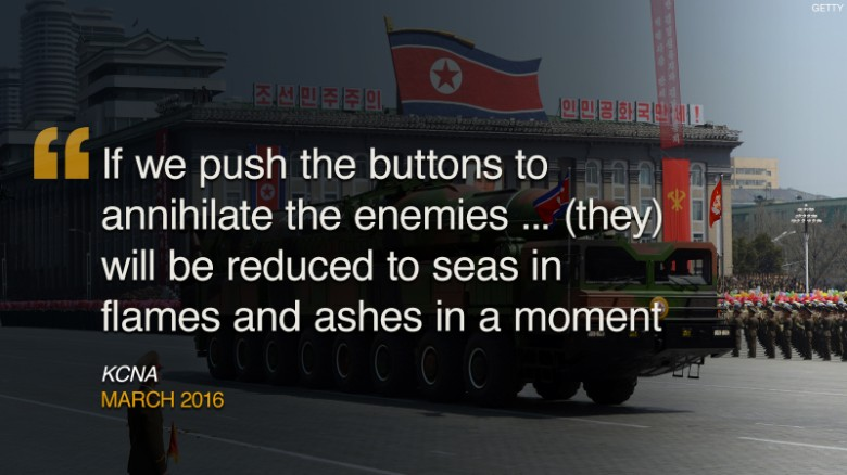 "North Korea has a history of using creative language to express loathing for its enemies. Here are some of the regime's more colorful threats against the West.<br /><strong><br />March 2016:</strong> North Korea warned it would make a ""preemptive and offensive nuclear strike"" in response to <a href=""http://cnn.com/2016/03/06/asia/north-korea-preemptive-nuclear-strike-threat/index.html"">joint U.S.-South Korean military exercises</a>. Pyongyang issued a long statement promising that ""time will prove how the crime-woven history of the U.S. imperialists who have grown corpulent through aggression and war will come to an end and how the Park Geun Hye group's disgraceful remaining days will meet a miserable doom as it is keen on the confrontation with the fellow countrymen in the north."""