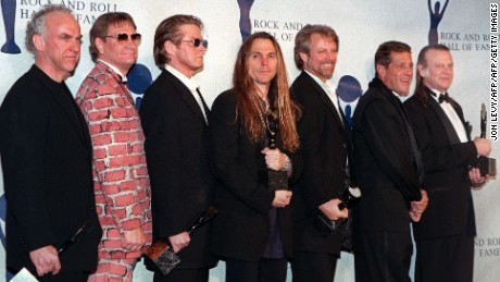 Randy Meisner, right, joined the Eagles for their induction into the Rock and Roll Hall of Fame in 1998.