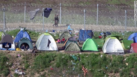 Refugee tents at the Greece-Macedonia border