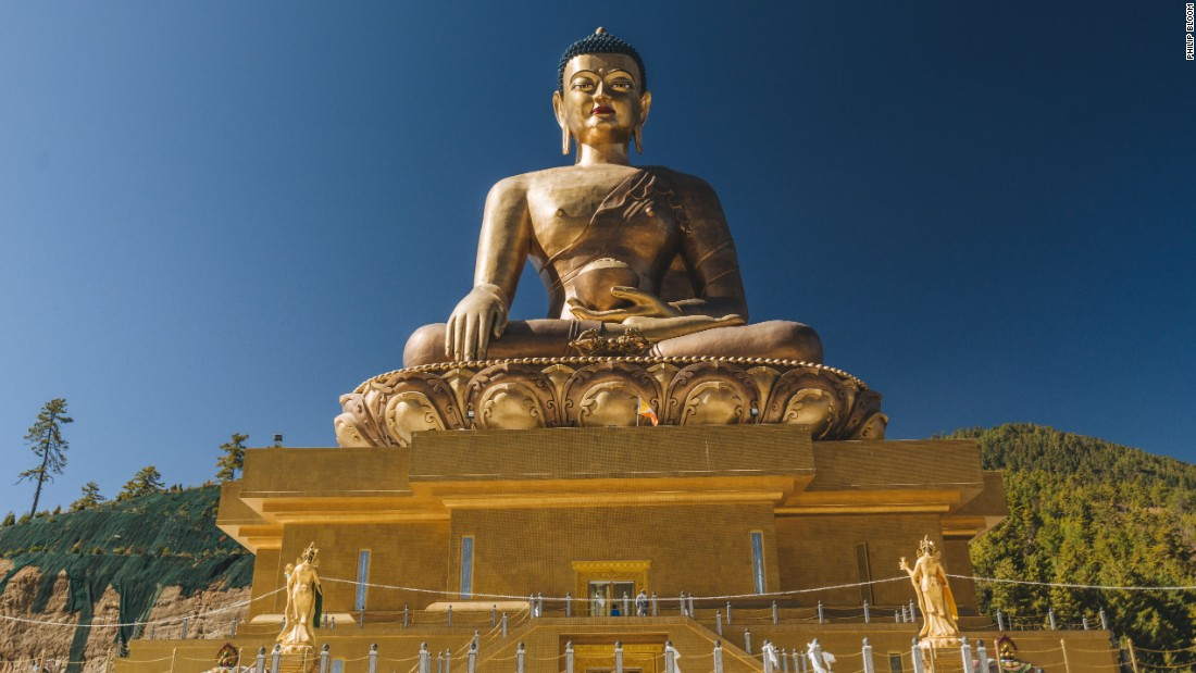 Inspired by a 1,200-year-old Bhutanese prophecy, the recently completed Thimphu Buddha is one of the largest sitting Buddhas in the world. Bhutan is the world's last independent Buddhist kingdom.