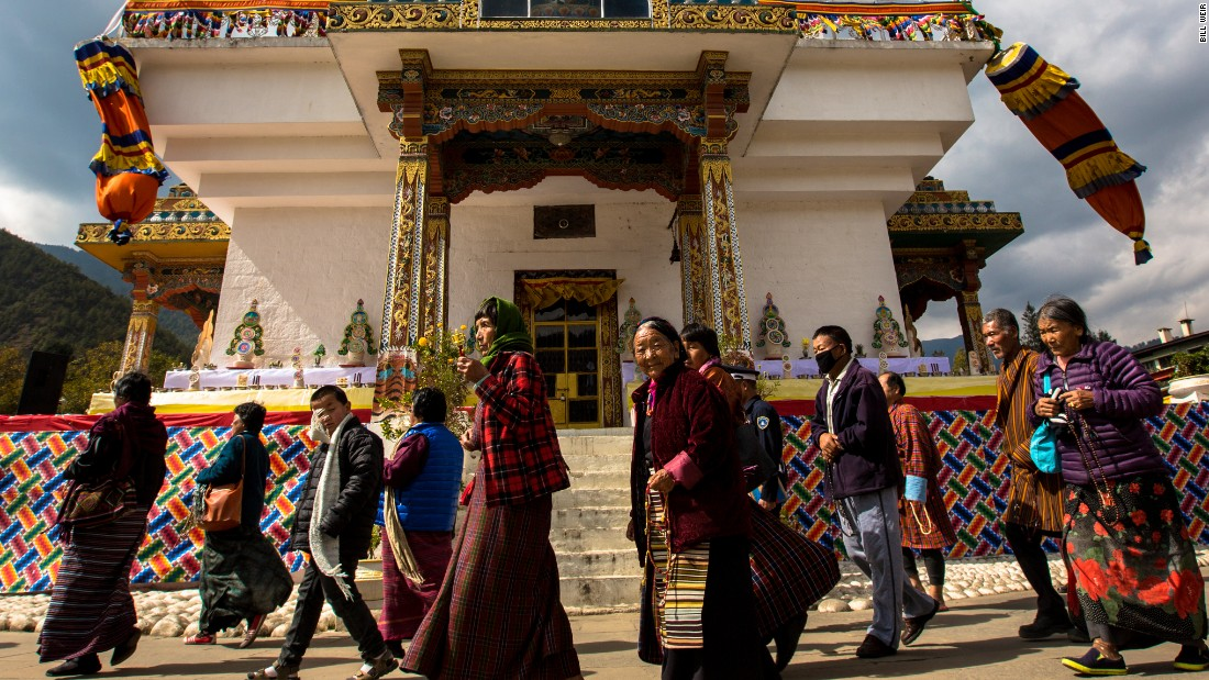 Visitors circle clockwise, reciting prayers, around the Memorial Chorten Stuppa of Thimphu. Whether students preparing for a test or farmers hoping for a fruitful harvest, people regularly visit the Stuppa to receive blessings and pay their respects.