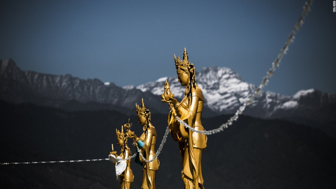Backed by snow-capped mountains, gold-painted Dakinis -- the angels of the Buddhist world -- perch high above the capital. Himalayan snowmelt and monsoon rains power Bhutan, which is among the world's leading countries in clean energy.