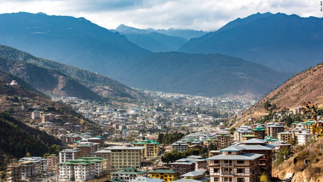 With a population of just under 100,000, Thimphu is a quickly growing capital. Bhutan is half the size of Indiana, and two-thirds of it is covered by pristine forest. Its constitution insists that it must stay that way -- forever.
