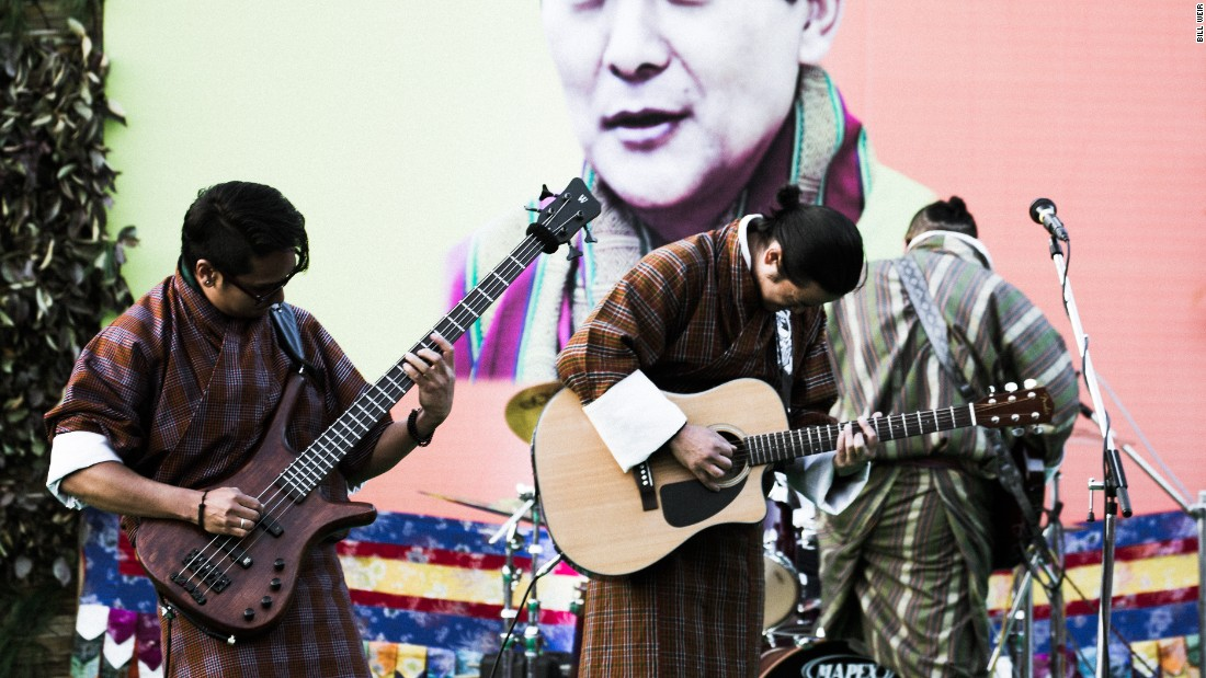 Bhutanese musicians play at a music festival on the outskirts of the capital as part of the country-wide celebration of the 60th birthday of the fourth king.