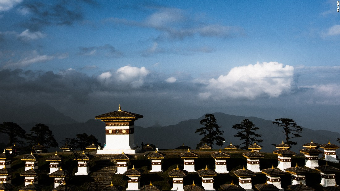The Dochula Pass, a mountaintop gateway from Thimphu to the valley of Punakha, sits among the clouds at over 10,000 feet. A monastery and shrines to Bhutanese soldiers killed in combat are among its attractions.