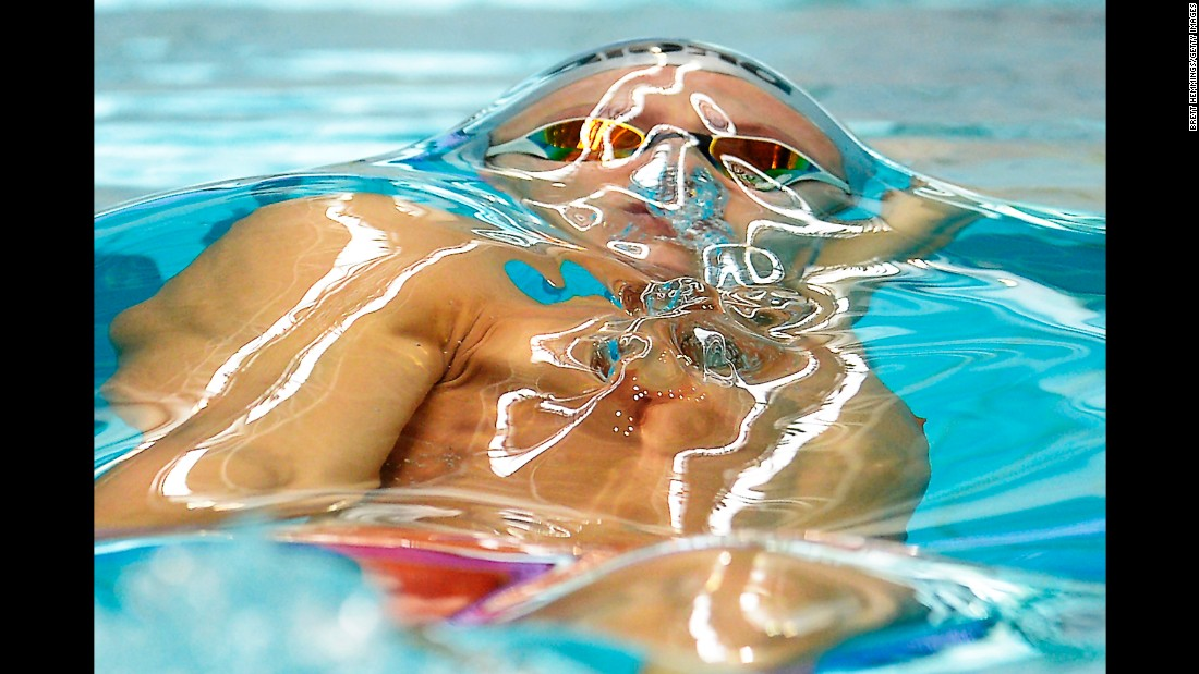 Australian swimmer Mitch Larkin swims the 100-meter backstroke Sunday, March 6, while competing in the New South Wales State Open Championships.