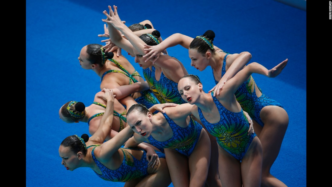 Canada's synchronized swimming team performs its technical routine on Saturday, March 5, as it tries to qualify for this summer's Olympics in Rio de Janeiro.