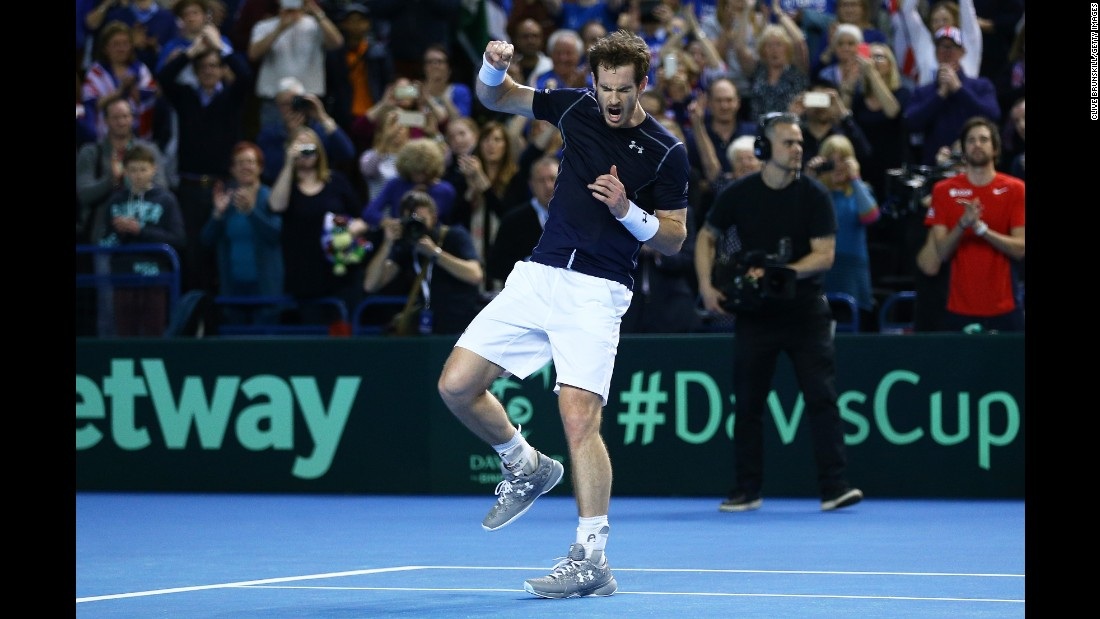 Andy Murray pumps his fist after he defeated Kei Nishikori to clinch a Davis Cup victory for Great Britain on Sunday, March 6.