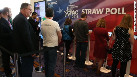 People vote at a Straw Poll both during the CPAC 2016 conference, March 5, 2016 in National Harbor, Maryland.
