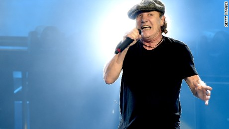 Brian Johnson, lead singer of AC/DC, performs with the band at Dodger Stadium on September 28, 2015 in Los Angeles.
