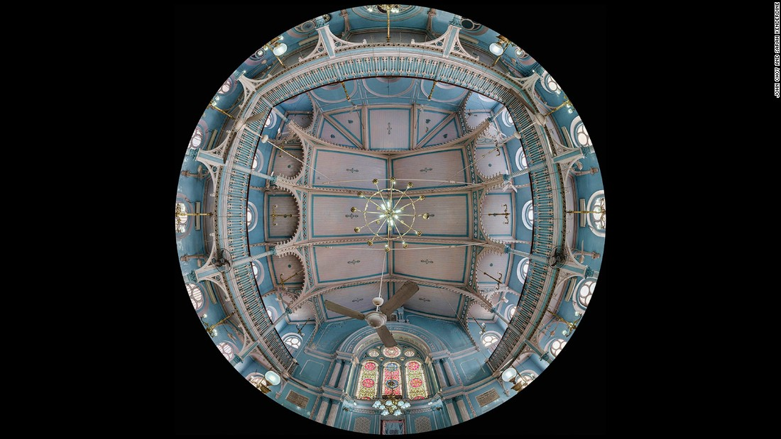 Professor Sarah Kenderdine and John Choy have photographed the ceilings of 70 of Mumbai's most beautiful buildings, using an automated rig to create huge one gigapixel composite images. Displayed in a temporary installation called the DomeLab, they're opening eyes to the city's marvels with their immersive art, at once familiar and yet uncanny.<br /><strong><br />Knesset Eliyahoo Synagogue </strong>-- Built in 1884 by Jacob Elias Sassoon, the synagogue was constructed in memory to his father. It served a prominent and affluent Jewish community in the city, and at one time the celebration of Yom Kippur called for extra chairs to fit into the packed synagogue.