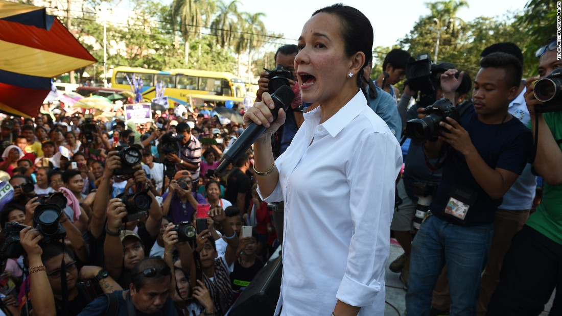 Grace Poe, a presidential candidate in the Philippines, speaks to supporters and members of a women's group on March 8 in Manila.