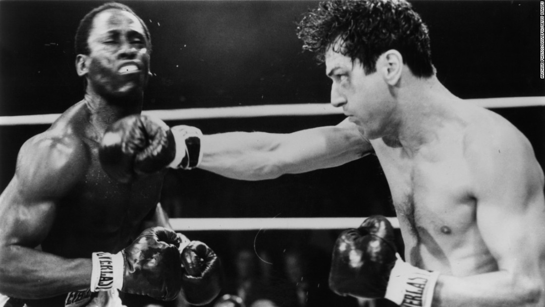 "<strong>'Raging Bull':</strong> Robert De Niro lands a hard-hitting punch in a scene from Martin Scorsese's acclaimed 1980 film ""Raging Bull,"" about real-life world middleweight champion Jake LaMotta."