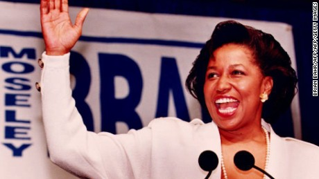 CHICAGO, IL - NOVEMBER 3:  US Senator-elect Carol Moseley Braun declares her victory as the first African-American woman elected to the US Senate 03 November 1992 in Chicago, IL. She called her campaign a step toward a new diversity in government.  (Photo credit should read BRIAN BAHR/AFP/Getty Images)