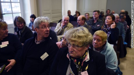 "Victims await the start of the trial of  Jacobus Marinus Van Nierop, dubbed ""the dentist of the horror,"" at the Nevers courthouse, central France."